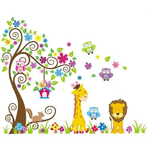 "Rainbow Unicorn Kids Jungle Theme Peel & Stick Tatuajes de pared 35 \""Colorful Owl Jirafa Lion Tree Decorativo Baby Wall Sticker para Niños Dormitorio, Guardería, Playroom Mural"