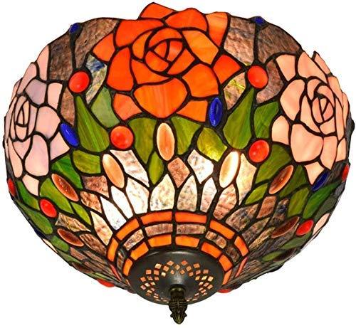 Wtbew-u Lámpara de Techo, luz de baño Luminaria Colgante de la Sombra de Cristal de Rosa Pastoral Europea de 12 Pulgadas para el Dormitorio del Comedor