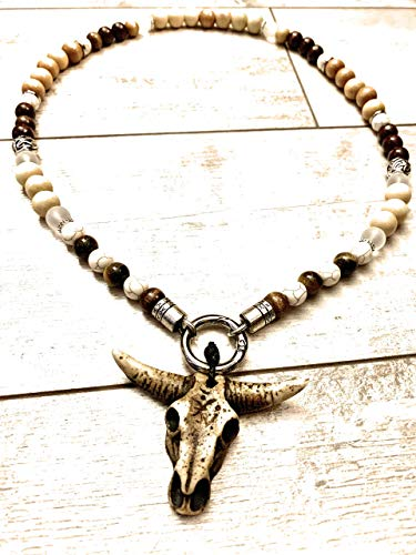 Wikinger-Kette in Schwarz oder Hellbraun | Bullskull | Bullenschädel Perlenkette | Rocker-Schmuck | Biker-Schmuck | Wikinger-Schmuck | Wacken-Style