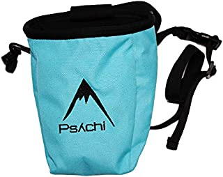 Psychi Chalk Bag for Rock Climbing Bouldering with Rear Zip Storage and Waist Belt
