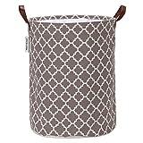 Marokkanisches Gittermuster Wäschesammler Leinenstoff Wäschekorb Faltbarer Aufbewahrungskorb mit PU-Ledergriffen und