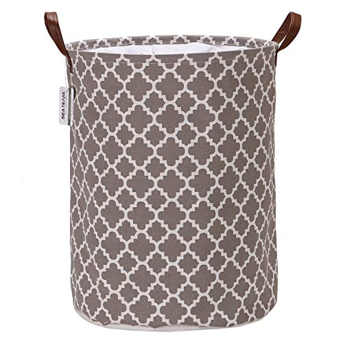 """Marokkanisches Gittermuster Wäschesammler Leinenstoff Wäschekorb Faltbarer Aufbewahrungskorb mit PU-Ledergriffen und Kordelzug-Verschluss, wasserdichte Innenseite, Textil, Lattice/Grey, 17.7""""/Medium"""