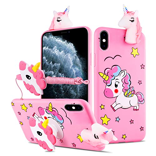 HikerClub Galaxy A10e / A20e Case Unicorn Cute 3D Cartoon Case with Airbag Holder Stand and Lanyard Soft TPU Ultra Thin Slim Shockproof Protection Case (My Little Pony, A10e / A20e)