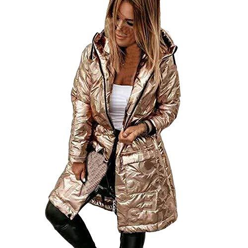 Damen Winterjacke Warme Lackleder Daunenjacke Lange Kapuzenjacke Gesteppt Gepolstert Puffer Dicken Oberschenkellänge Lederjacke Trenchcoat Frauen Wintermantel Parka B306 ( S, Gold)