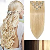 Extension a Clip Cheveux Naturel - Rajout 100% Cheveux Humain 8 Bandes - #613 Blond très clair - 33 cm (80 g)