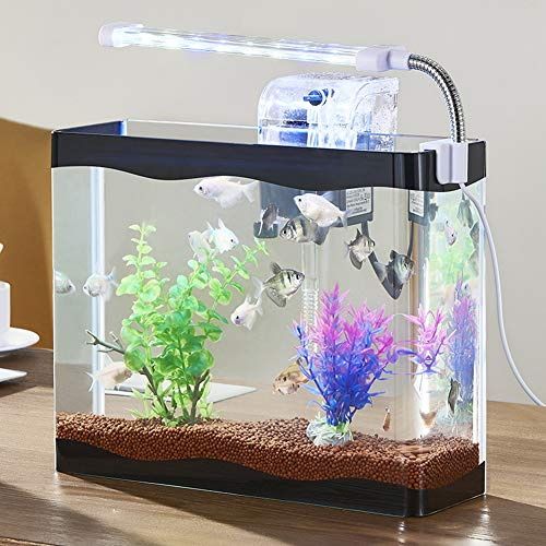 LXXL Fish Tank Aquarium Starter Kit con Tapa LED Aquarium Kit Mini Fish Tank Inicio Sala de Estar Oficina Acuario Inteligente Ecología anfibia Cilindro vacío Creatividad