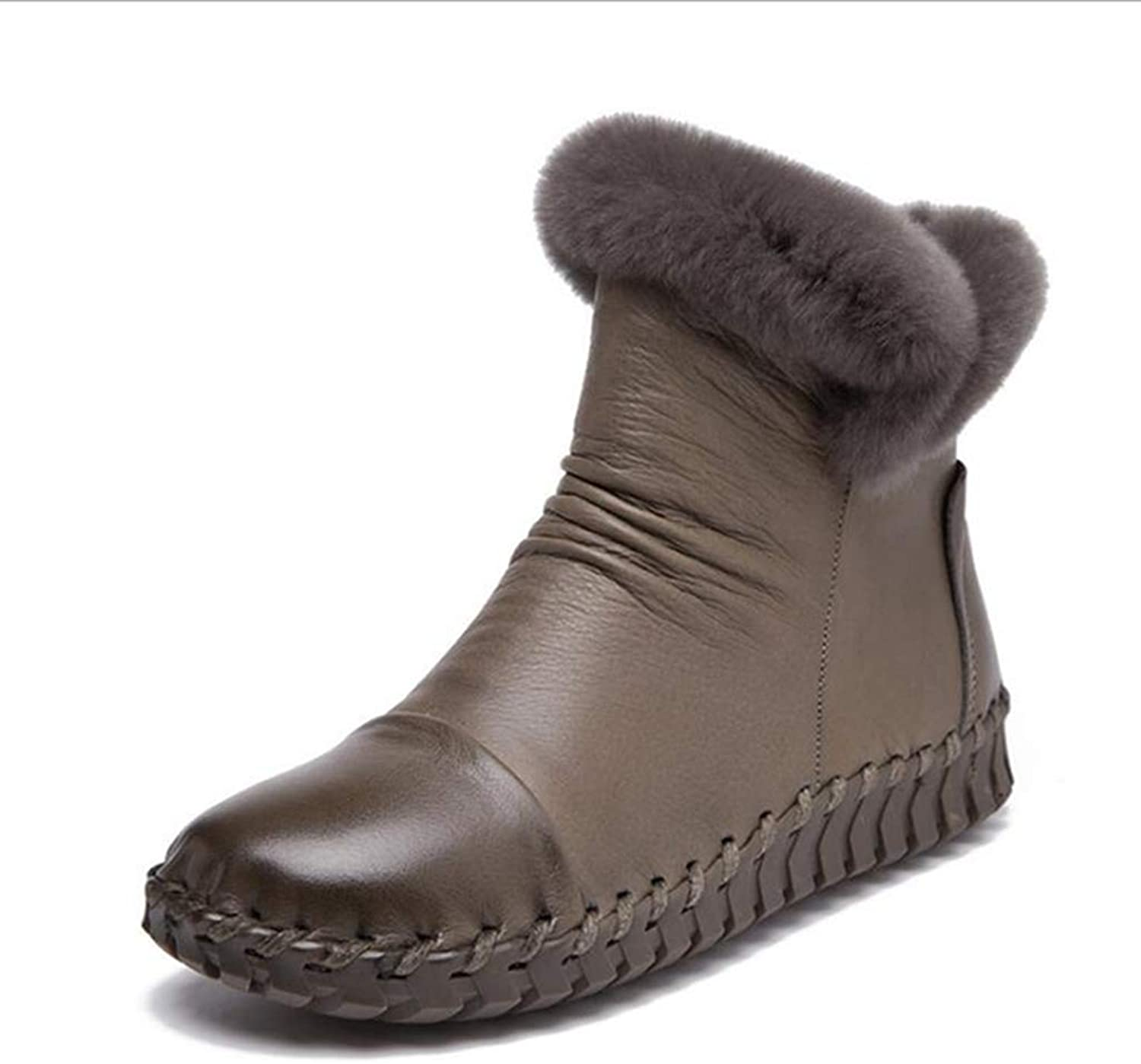 Fay Waters Women's Genuine Leather Combat Style Round Toe Flat Ankle Bootie Rabbit Fur Snow Boots