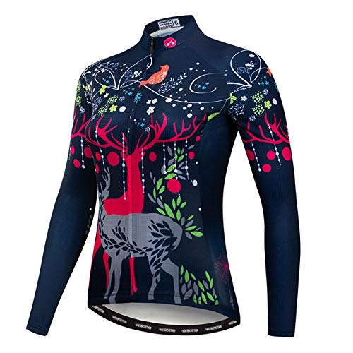 WSXEDC Radtrikot Für Frauen,Herbst Mountainbike Kleidung Langarm Top Neuheit Schwarzwild Animal Road Riding MTB Reißverschluss Shirt Mit Feuchtigkeitstransportierenden Atmungsaktiven Stoff, M.