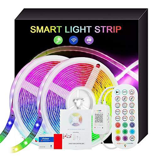 JTWEB Tira de LED de 15M RGB 5050 12V Música Tiras de Luces control de aplicaciones, Remoto de 24 Botones Bluetooth con Control Remoto y Caja de Control para la Habitación