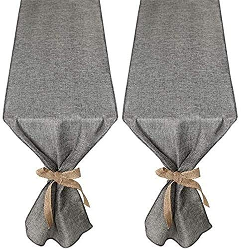 FLYAND Gray Burlap Table Runners Modern Style Farmhouse for Coffee Table Dining Table Cover Dresser 30x275cm
