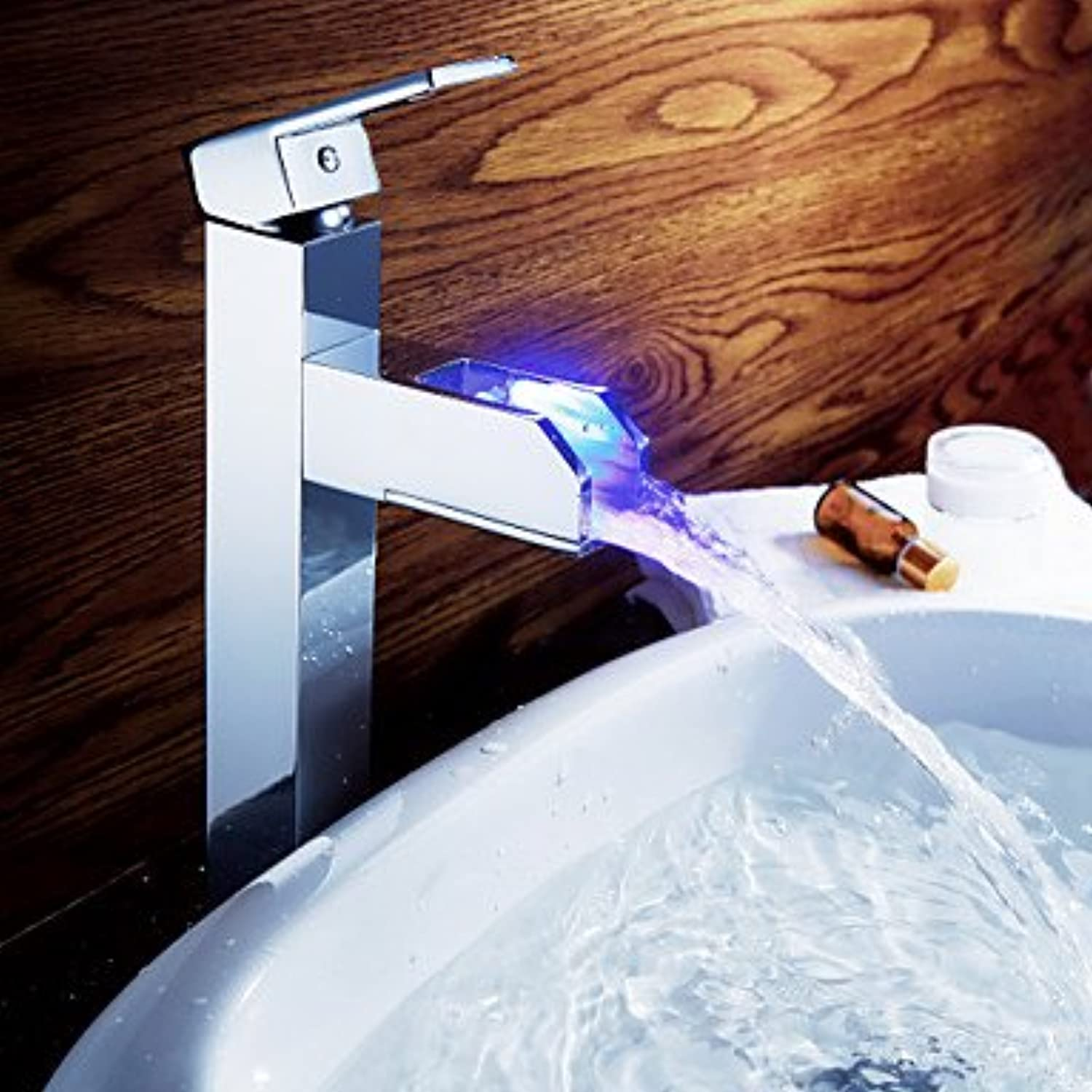 DF Sprinkle? by Lightinthebox - color Changing LED Waterall Bathroom Sink Faucet (Tall)