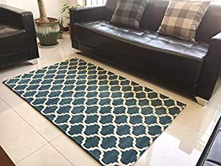 Homcomoda Area Rug Contemporary Moroccan Trellis Design Easy Clean Polyester Pagoda Blue Soft Area Rugs Carpet for Living Room Home Bedroom (3'x5')