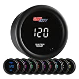 GlowShift 10 Color Digital 300 F Water Coolant Temperature Gauge Kit - Includes Electronic Sensor - Multi-Color LED Display - Tinted Lens - for Car & Truck - 2-1/16' (52mm)