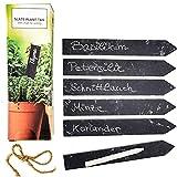Selldorado 6 carteles de pizarra para plantas y plantas con tiza, para escribir en el jardín, 15 x 2,5 cm, para arriates, jardineras y jardines