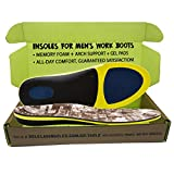 Insoles for Men's Work Boots with Extra Cushion - Full Length - Memory Foam - Comfort Orthotic - Replacement Inserts with Adaptive Arch and Gel Insert (Men's US 10.5-12)