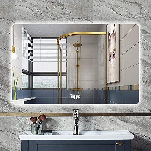 Espejo de baño Espejo inteligente de baño Baño iluminado con LED Lámpara sin marco Espejo Espejo retroiluminado Antivaho 70 * 50/80 * 60/90 * 70cm Espejo antideflagrante antideflagrante con luz de do