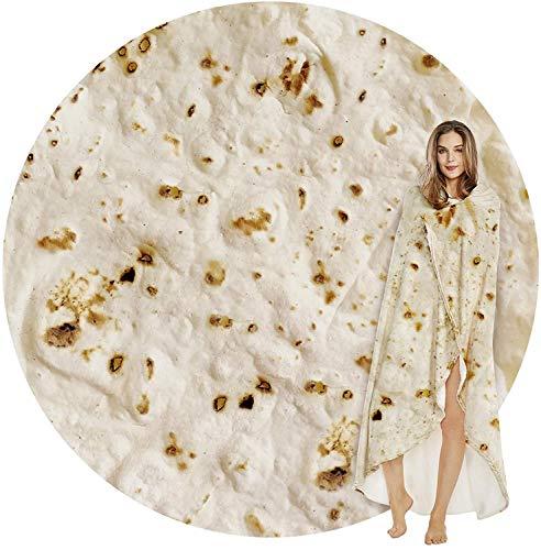 Yirantian Tortilla Kuscheldecke, Runde Burrito Decke, Mikrofaser Flanell Food Creation Tagesdecke, Super Weiche Warme mit Zweiseitige Fleecedecke Sofadecke, Reisedecke