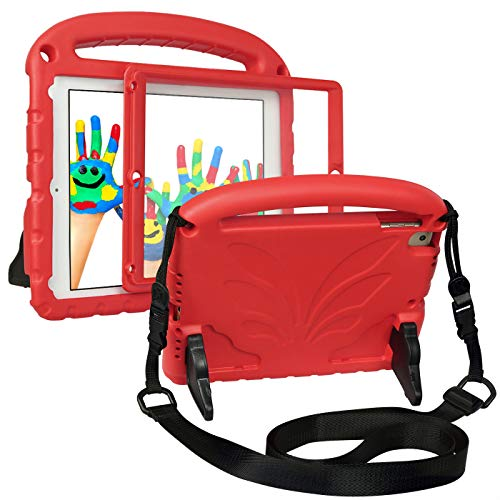 HDE Kinder-Schutzhülle für iPad 9.7 2018/2017 – integrierter Bildschirmschutz, leicht, stoßfest, Handgriff, Standfunktion, Schultergurt, kinderfre&lich, für Apple iPad 9.7 5. & 6. Generation (rot)