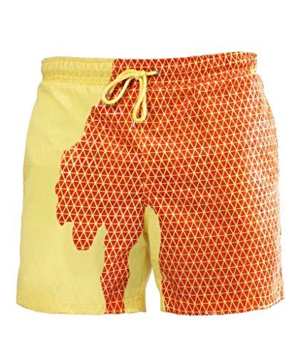 Lilon - Pantalones cortos de playa para hombre con cambio de color, secado rápido Yellow Lattice To Orange S