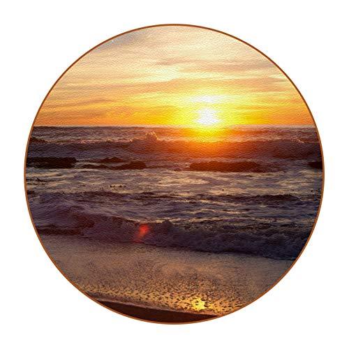 6 posavasos duraderos con base de cuero de microfibra para tazas de vidrio, taza de café, playa puesta del sol