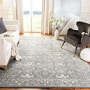 Safavieh Evoke Collection EVK270S Shabby Chic Distressed Non-Shedding Stain Resistant Living Room Bedroom Area Rug, 9′ x 12′, Grey / Ivory