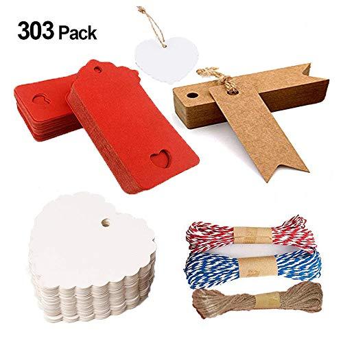 300 piezas Etiquetas de Papel Kraft, Etiquetas de Equipaje, Etiquetas de Regalo Tarjetas, Etiquetas de Boda, Se utiliza para bodas, cumpleaños y Navidad