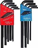 EKLIND 10222 Hex L-Key allen wrench Combo- Long Inch / MM (2 sets 22pc)