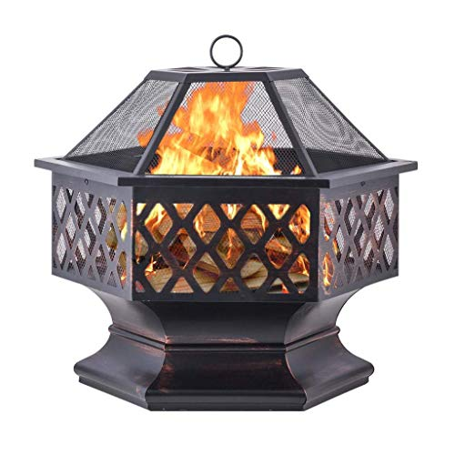 Fire Pits Campfire stove family gathering grill, heating/barbecue/heating multi-function use, outdoor steel garden heater/wood and charcoal burner