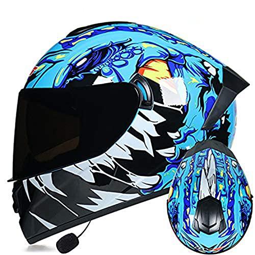 LVYE1 MRMF Cascos Moto Bluetooth Integrado Casco Moto Bluetooth Integrado Cascos De Moto Scooter con Doble Anti Niebla Visera Casco Integral ECE Homologado para Mujer Hombre Adultos,A,M