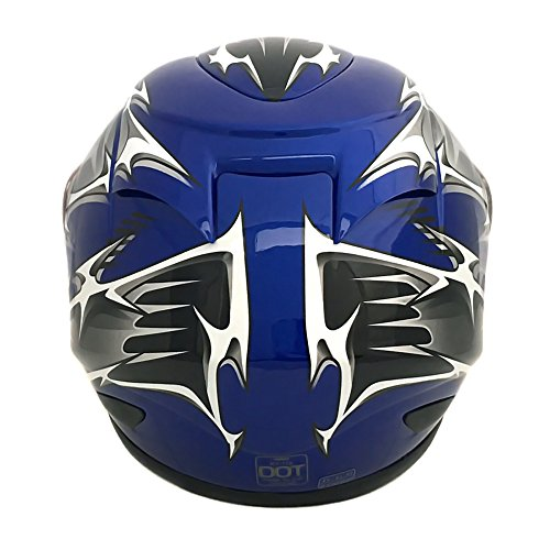 MMG 118S Motorcycle Full Face Helmet DOT Street Legal, Includes 2 Visors Comes with Clear Shield and Smoked Shield, Spikes Blue, Large