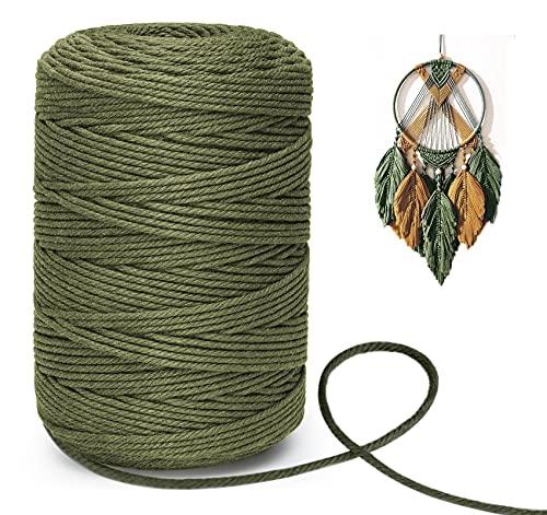 300 m cuerda de macrame3 mm natural algodón cuerda trenzada DIY, cuerda de pared,decoración,bricolaje,artesanía,cuerda de algodón para plantas,artesanía,colgantes, embalaje regalo,ejército verde