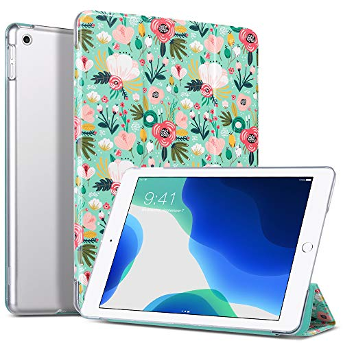 ULAK iPad 10.2 Case, iPad 7th Generation Case, Slim Lightweight Trifold Stand, Auto Sleep/Wake Smart Cover, Premium Leather Shockproof Protective Case for Apple iPad 10.2 Inch, Green Flower