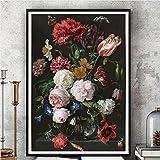 YQLKC Arte de Pared Lienzos Antiguos bodegones holandeses Carteles Acuarela Pintura Grande Ilustración botánica Floral Impresiones 27.5'x35.4 (70x90cm) Sin Marco