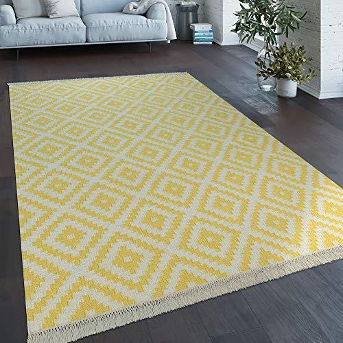 Vloerkleed Modern Marokkaans Patroon Handgeweven Scandinavisch Ruiten Franje Geel Wit, Maat:80x150 cm