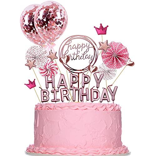 ENYCOS Cake Topper, tortendeko, Kuchen Dekoration, tortendeko Geburtstag Junge, kuchendeko Geburtstag mädchengeburtstagskerzen für Torte, Happy Birthday Kerzen, Happy Birthday tortendeko (Rosa)