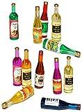 12 tlg. Set - Flaschen Wein - Kunststoff - Miniatur / Maßstab 1:12 - für Puppenstube - Puppenhaus...