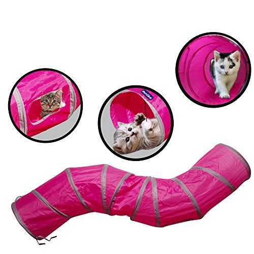 PetLike S Way Cat Tunnel Collapsible Pop-up Pet Tube Hideaway Play Toy with Ball