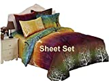 Rainbow Tree 100% Polyester Sheet Set : Fitted Sheet, Flat Sheet and Two Matching Pillowcases (Queen)