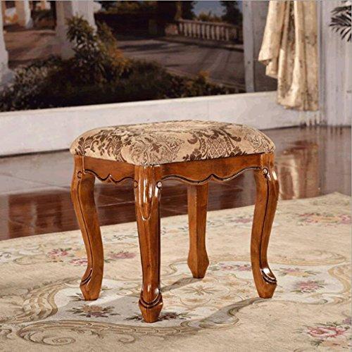 Tabouret en bois Tabouret de coiffeuse classique/en bois massif européen Tabouret de dressing/coiffeuse pastorale (taille : 47 * 38 * 48)