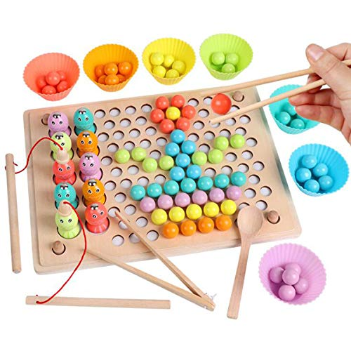 YHZAN Wooden Board Game Magentic Fishing Toy Beads Stacking Counting Memory Development Matching Game for Toddlers