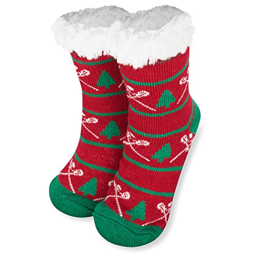 Lacrosse Christmas Slipper Sock | Sherpa Fleece Lined | One Size Fits Most