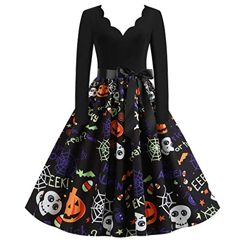Lang Kleidersack Lang Halloween Kostüm Erstkommunion Kleid Dampfglätter Kleidung Halloween Schminke Kleid Lang Damen Sommer Tunikakleider Halloween Deko Garten Kleider(D-Schwarz,L)