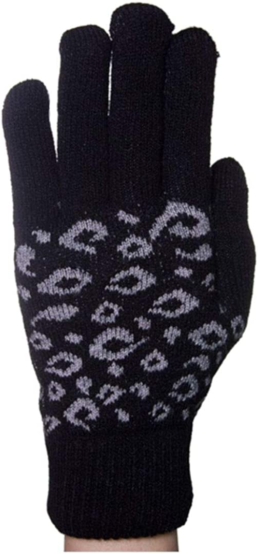 Women's Warm Thick Winter Leopard Print Pattern Gloves Double Layer Lining Cold Weather Accessories