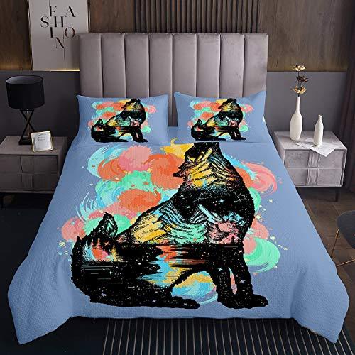 Homemissing Wolf - Juego de colcha con estampado salvaje de safari para niños y niñas, diseño de animales 3D, colcha acolchada colorida con 2 fundas de almohada, 3 piezas de cama King