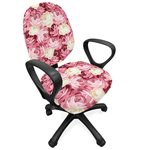 Lunarable Floral Office Chair Slipcover, Contemporary Illustration of Bunch of Blooming Pastel Color Roses Retro Dramatic, Protective Stretch Decorative Fabric Cover, Cream Pink