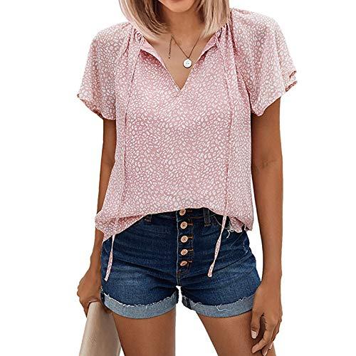 Dwevkeful Tshirt Damen V-Ausschnitte Sommer Bluse Kurzarm Oberteile Shirts Mode Lose Damen blusen Shirt Elegante Hemd Bluse T-Shirt