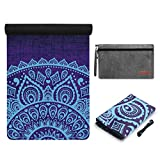 YOYI Travel Yoga Mat - Foldable Natural Rubber Fitness Mat, Non Slip Folding Mat for Pilates, Aerobics, Floor Exercises, 72'x 26' Thickness 1/16 inch, with Carrying Strap & Bag