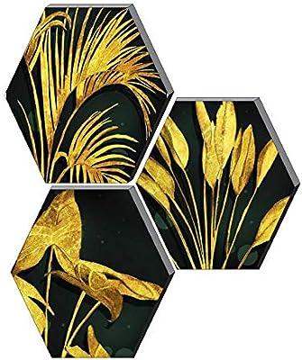 SAF 6MM MDF Hexagon Flower Designer Floral Painting Digital Reprint 21 inch x 21 inch Painting () SANFHX85