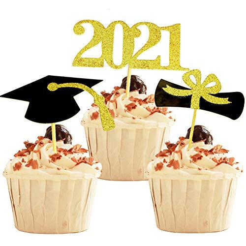 YuBoBo 2020 Graduation Cupcake Toppers, 48 PCS Food/Appetizer Picks For Graduation Party Mini Cake Decorations, Diploma, 2020, Grad Cap Set 48 Pieces (Graduation)