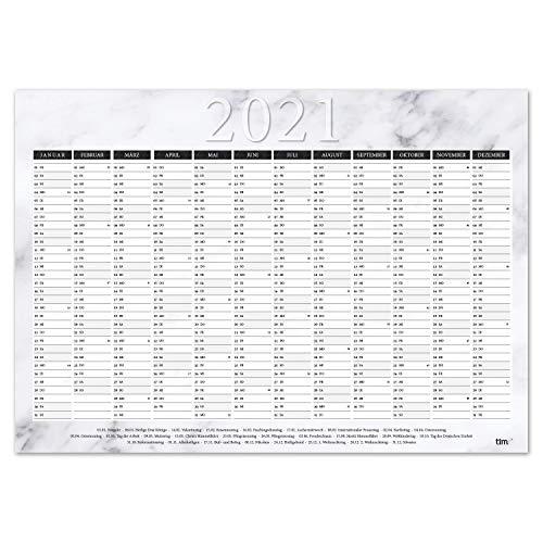 Calendario de pared 2021 Mamor I DIN A3 horizontal I dulce planificador anual con días festivos para oficina cocina – niñas mujeres WG I tr_024